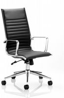 Ritz Part Ribbed Executive Chair Meeting High Back Fixed Chrome Arms Various Leathers